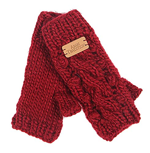 Aran Traditions Wine Red Marl Aran Lace Cable Fingerless Mitts