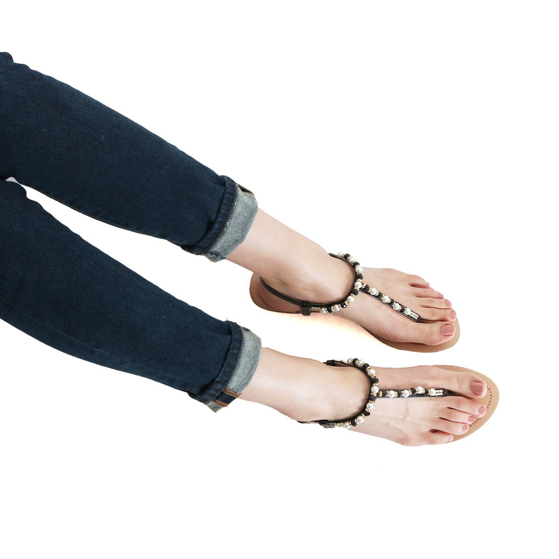 Womens Sparkle Rhinestone Sling Back Summer Casual Flat Thong Sandal Guilty Heart