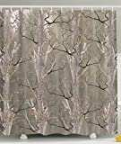 Camouflage Curtains Camo Shower Curtain Taupe Farmhouse Decor by Ambesonne, Wildlife North Woods Real Branch and Tree Military Camouflage Southwestern Woodsy Design Bathroom Decorations Art, Beige Black Dark Olive