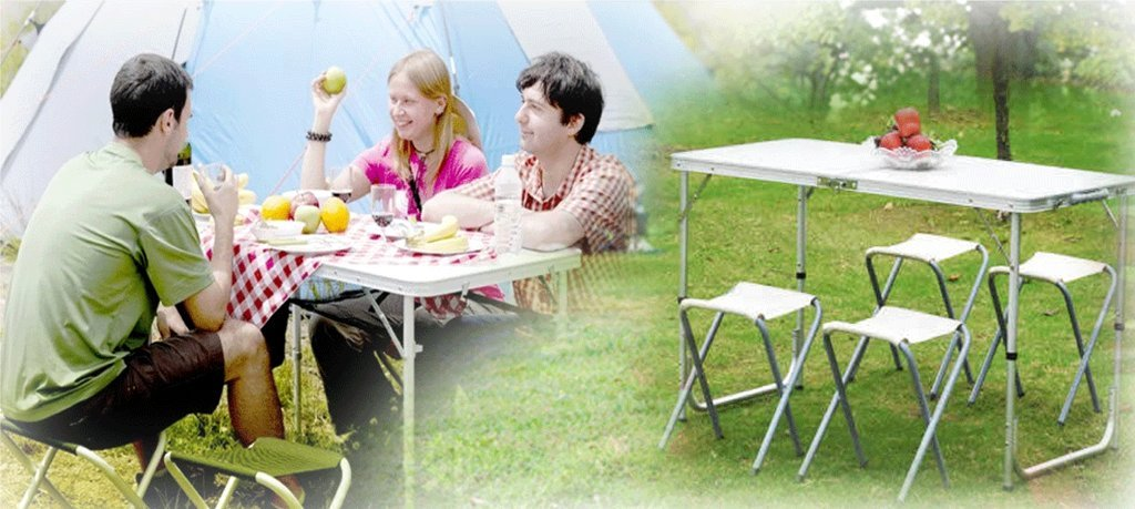 PROGEN PORTABLE OUTDOOR ALUMINIUM FOLDING PICNIC TABLE CAMPING WITH 4 SEATS SET