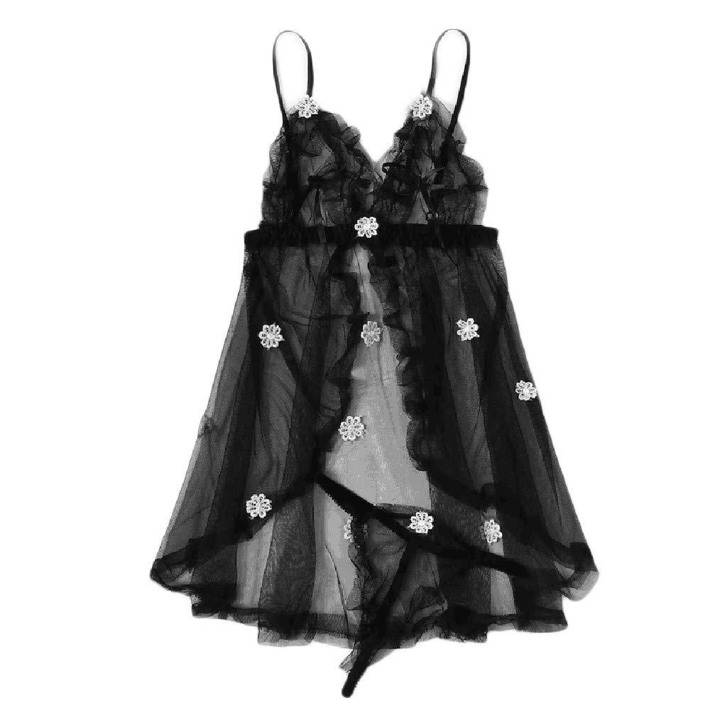 2019 Summer Fashion Women Sexy Black Lingerie Flower Detail Mesh Slip Set Babydoll Nightwear (Black, S)