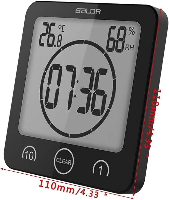 Medium Noir sunhoyu Horloge Murale Radio-pilot/ée pour Salle de Bain avec Ventouse Temp/érature et humidit/é de lair pour Salon