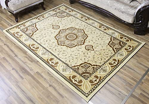 Ivory Beige Brown Classic Oriental Elegant Medallion Symmetric Design Carpet Soft Rug Rectangle Shape Stain Resistant Area Rug 8 x 11