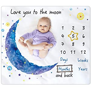 "BAMOMBY Baby Monthly Milestone Blanket,Photo Blanket for Boys Girls Baby Newborn Shower Gifts,Softy Premium Fleece Blanket with Bandana Drool Bib for Baby Pictures Backdrop Photo Prop,Large 50""x40"""