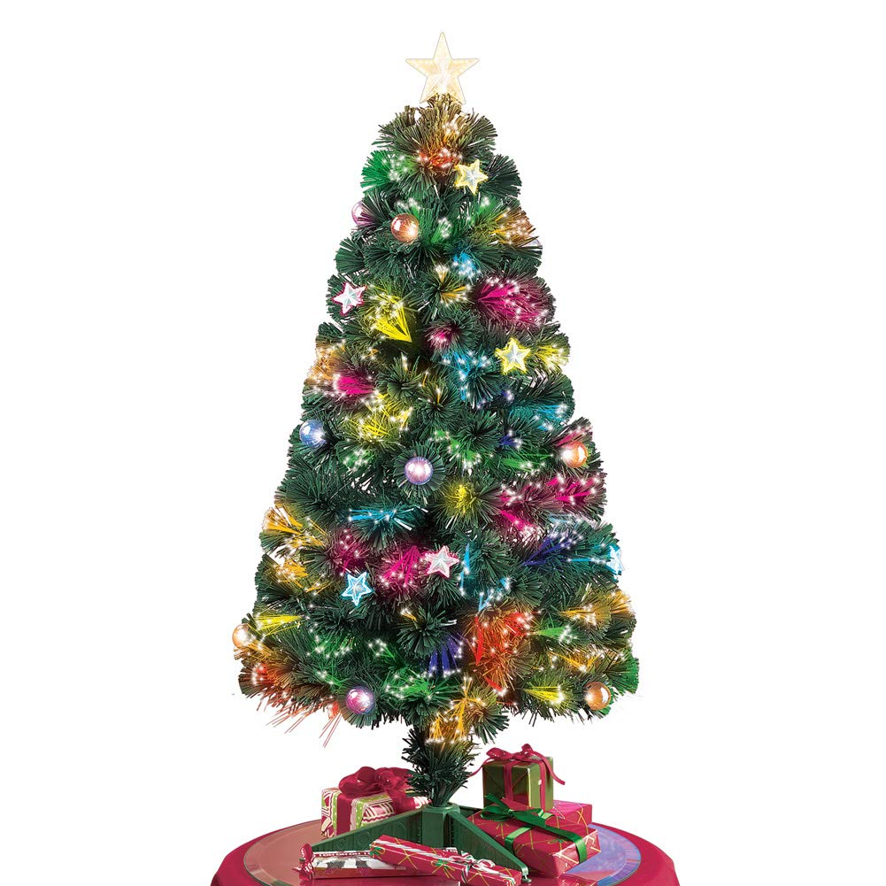 Collections Etc Tabletop Christmas Tree W Color Changing Fiber Optic Lights 47 H