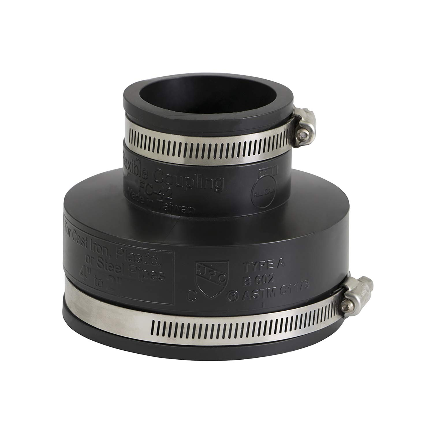 Supply Giant 6I57 Flexible Pvc Reducing Coupling with Stainless Steel Clamps, 4 x 2 Inch, Black, 4 x 2