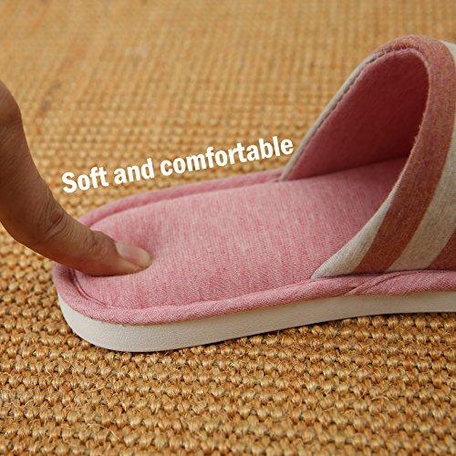 Y-nut In Cotone Di Lino Inverno Coperta Pantofole, Uomo Donna Coppia Coperta Caldo Morbido Zoccolo Open Toe Striscia Nera Tx01-blk