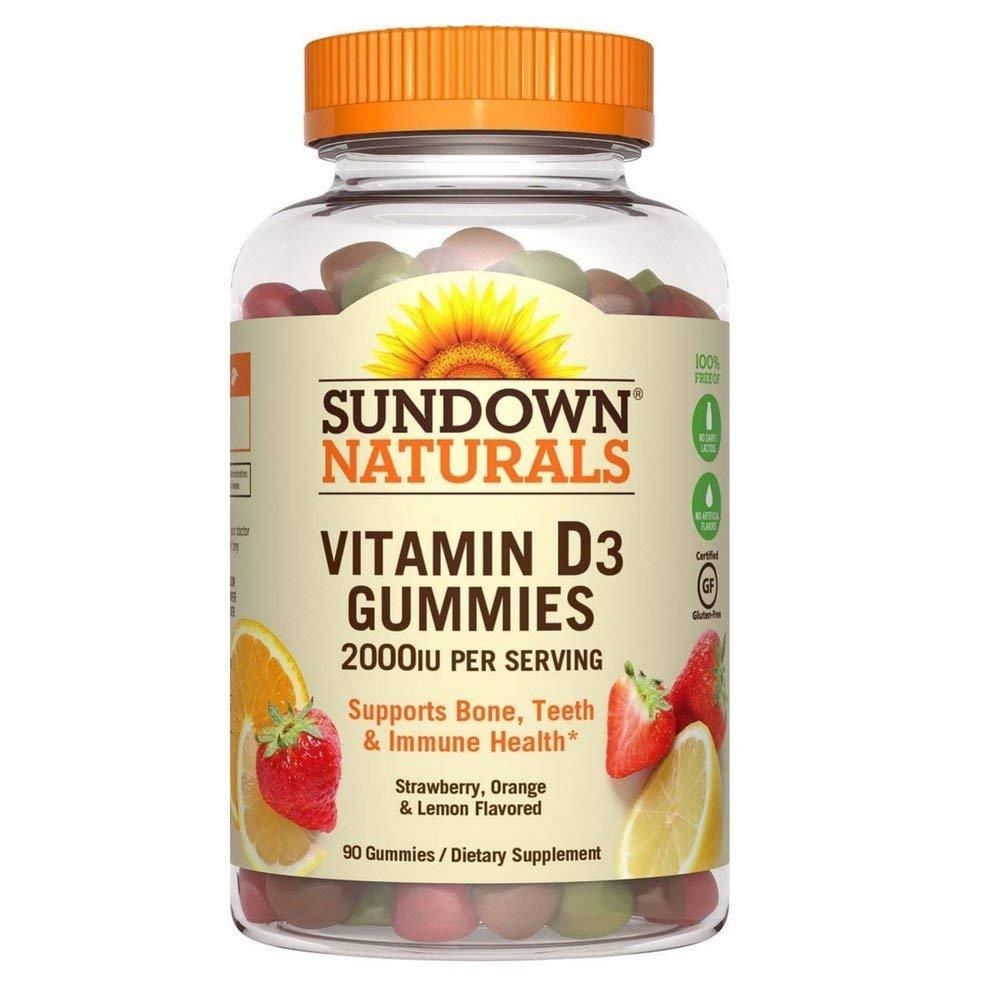 Sundown Naturals Vitamin D3 2000 IU Gummies, Strawberry, Orange, & Lemon Flavored 90 ea