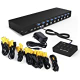 RIJER 8 Port Manual Smart VGA USB KVM Switch PC Computer Selector 1 KM Combo Controls 8 Hosts with Extension Switcher and Original Cable RJ8T01