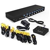 RIJER 8 Port Manual Smart VGA USB KVM Switch 801UK PC Computer DVR Selector 1 KM Combo Controls 8 Hosts with Extension…
