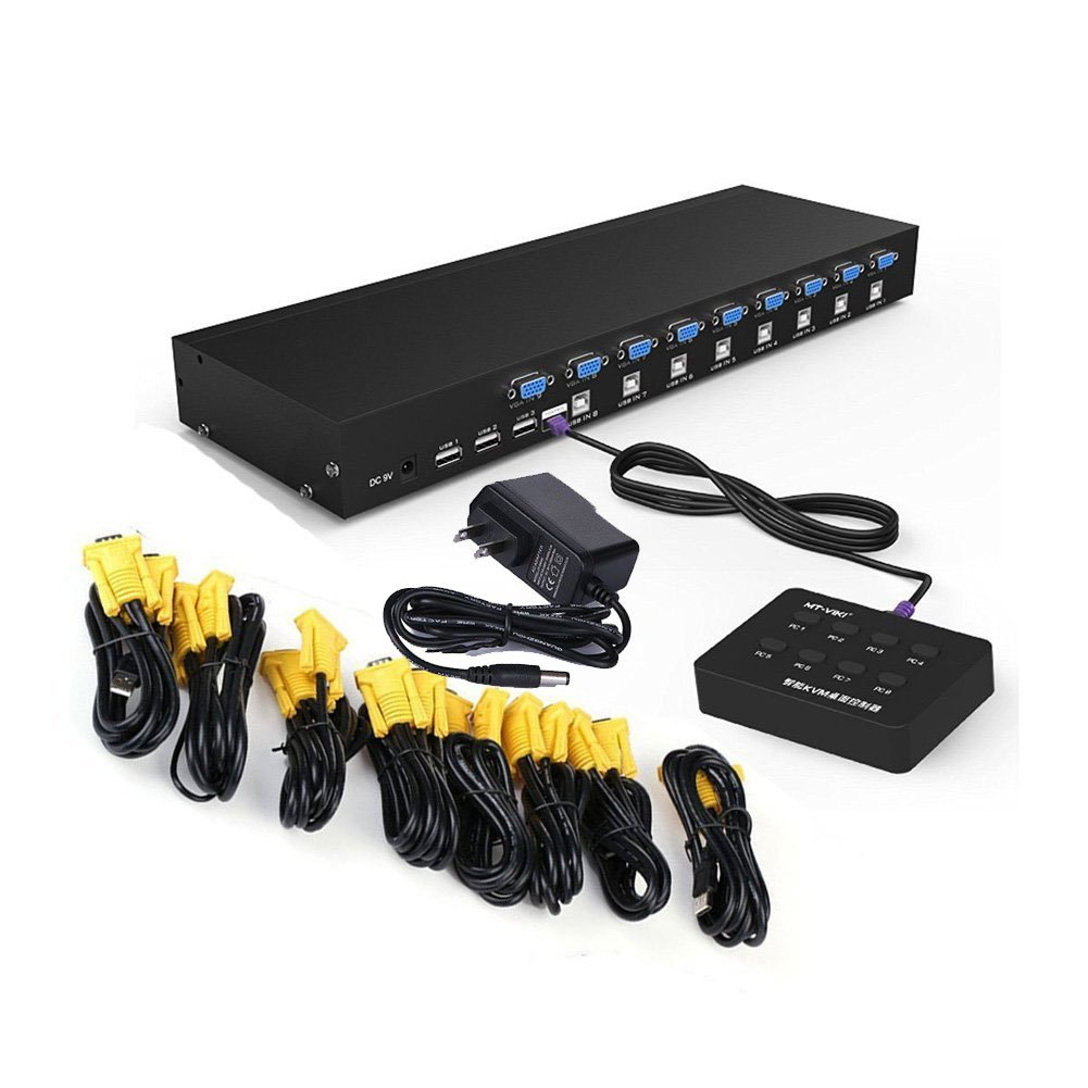 RIJER 8 Port Manual Smart VGA USB KVM Switch PC Computer Selector 1 KM Combo Controls 8 Hosts with Extension Switcher and original Cable 801UK