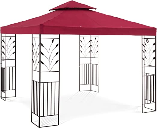 Uniprodo Pérgola De Metal Pabellón para Jardín Uni_PERGOLA_3X3R ...