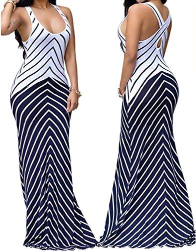 shekiss Women Sleeveless Sexy Maxi Stretch Bodycon Party Bandage Club Dresses,Purplish Blue,Small