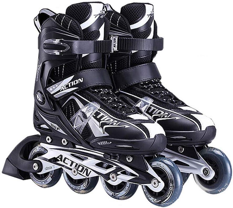 JIANXIN インラインスケート、調節可能なライトアップホイールローラースケート、男性、女性、初心者用スケート、白黒 (Size : EU 36-EU 39)  EU 36-EU 39