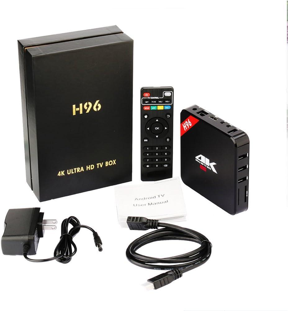 H96 1 GB/8 GB Android 7.1 TV Box Amlogic S905 quad-core Fast Speed Smart TV Box Soporte 2.4G Wifi 100M LAN Ethernet Bluetooth HD TV dispositivos (enchufe de EE. UU.): Amazon.es: Electrónica