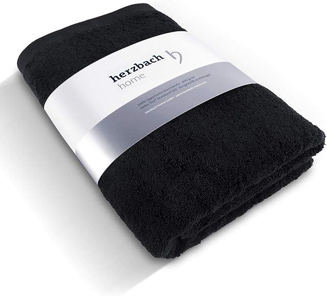 herzbach home - Toalla de mano (100% algodón egipcio, 86 x 200 cm, 600 g/m²), 100% algodón, Negro , 86x200: Amazon.es: Hogar