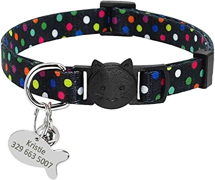 Didog Soft Nylon Breakaway Collar for Dog and Cat with Engraved Fish Shaped ID Tag,Black