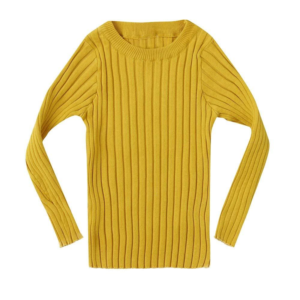 ZODOF Suéter de Color sólido para niños Niños Niñas Bebé Niños Ribbed Knit Sweater Soft Warm Niños Jersey Pulóver