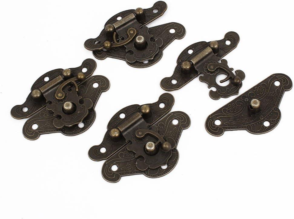 d91f1191ec74f69d8adb246f440af7cc Aexit 4 Pcs Antique Carved Wood Jewelry Box Latch Sets Case Hasp Pad Chest Lock Locking Hook Hinge Bronze Tone 2.6 Long