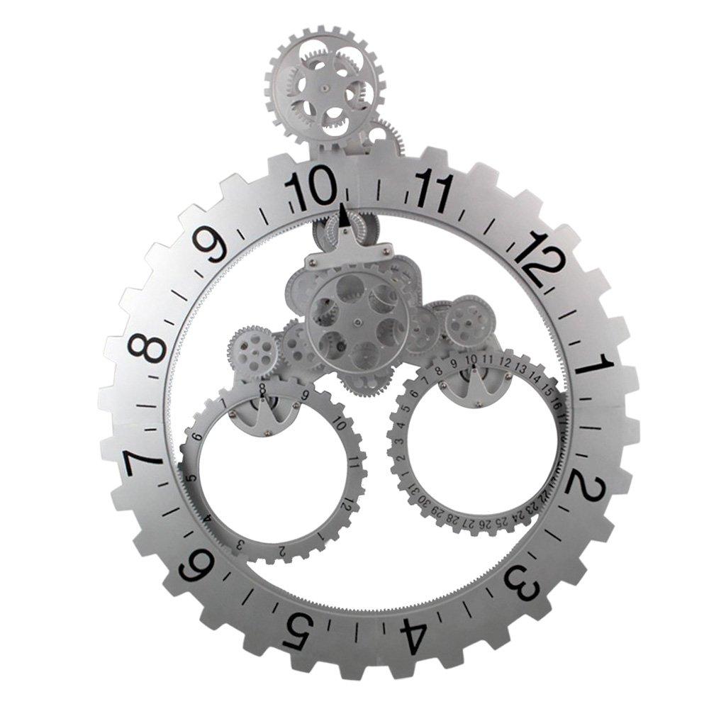 Homyl 創造的 3D DIY 現代 アート 回転 ギア 時計 メカニカル スタイル 壁掛け 時計 全2色選べる  銀 B07BDGWDW4 銀 銀