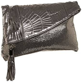 Whiting & Davis Fan Fold-Over Clutch,Pewter,one size