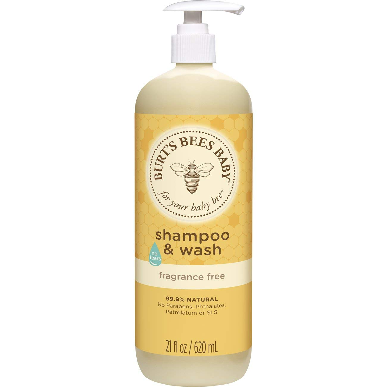 Burt's Bees Baby Shampoo & Wash, Fragrance Free & Tear Free Baby Soap - 21 Ounce Bottle Burt's Bees 01541-20