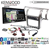 Volunteer Audio Kenwood DNX574S Double Din Radio Install Kit with GPS Navigation Apple CarPlay Android Auto Fits 2003-2004 Infiniti G35 (Gun Metal) (Single zone A/C controls)