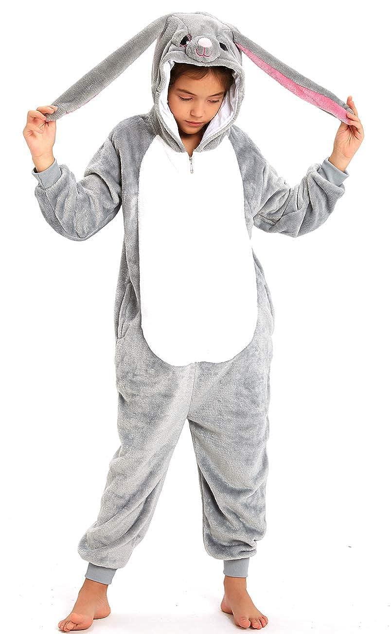 Kids Fleece Onesie Pajamas Animal Christmas Halloween Cosplay Costume