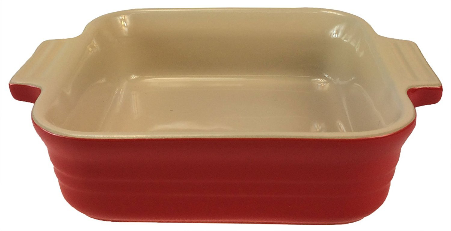 Le Creuset Poterie Stoneware Solid Chili Red Square Baking Dish, 5 Inch