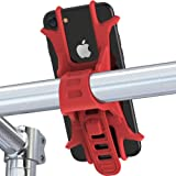 Aeoss Universal Bicycle Phone Holder Silicone Elastic Band Handlebar Bracket Support Bicycle Motorcycle Mount for iPhone X 8 GPS (RED)