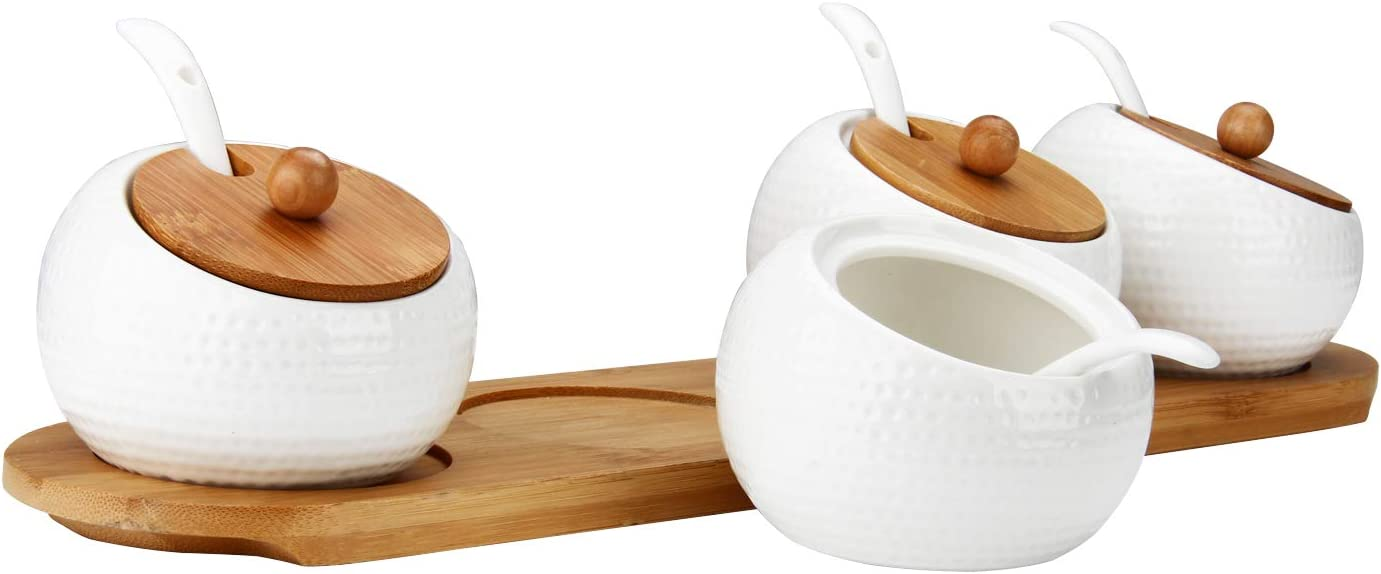 RUCKAE Porcelain Condiment Jar Spice Container with Bamboo Lid,Ceramic Spoon,Wooden Tray,Set of 4,White,170ML(5.8 OZ),Perfect Spice Storage for Home,Kitchen,Counter