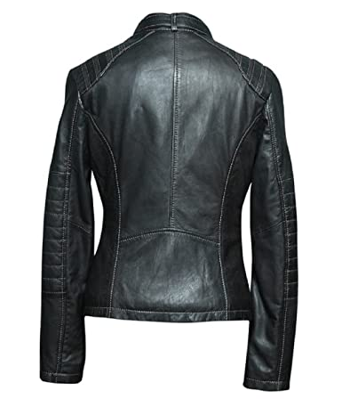 at Bestzo Black Fashion Leather Women's Jacket Top Quality Real 5BB0zn8rx