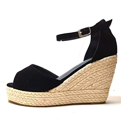 9fd018f7ef8 LIHUAMAO Womens Wedges Sandals Platform Ankle Strap Espadrilles Peep Toe  Heel Shoes Pumps