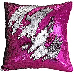 "Play Tailor Mermaid Pillow Case, Magic Reversible Sequin Pillow Cover Throw Cushion Case 16""X16""(Silver-Fuchsia)"