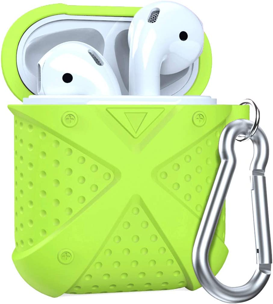 MS18A2 with Keychain//Magnetic Airpods Strap//Airpods Ear Hook Accessories Kits for Airpods Charging Case MeanLove AirPods Case Green Flex Armor Series AirPods Cover Skin Heavy Duty Protection