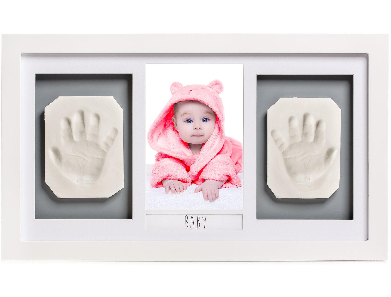 Lovely Baby Handprint or Footprint Picture Frame Kit -The Perfect Shower Gift for Boys and Girls, and A Forever Registry Memory, All in A Premium LARGE Wood Frame for Keepsake Decoration, Wall or Desk