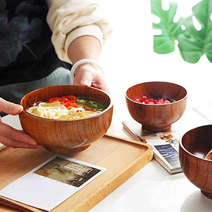 Ciotola in Legno Naturale RK-HYTQWR Ciotola in Legno Naturale 1 Pezzo per servire zuppa di Riso Piatti per Insalata in Legno Rotondi Fatti a Mano Legno
