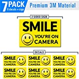 Smile You are on Camera (7 Pack) Large Double Sided Sign and Decal Pack - Waterproof, UV Protected, Laminated, Bubble Free, Premium 3m Materials