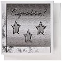 3dRose Three Silver Stars. Congratulations - Greeting Cards, 6 x 6 inches, set of 12 (gc_16322_2)
