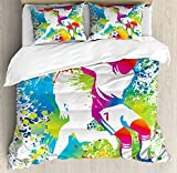 Ambesonne Youth Queen Size Duvet Cover Set, Football Players with a Soccer Ball and Colorful Grunge Splashes Competition Sports, Decorative 3 Piece Bedding Set with 2 Pillow Shams, Multicolor