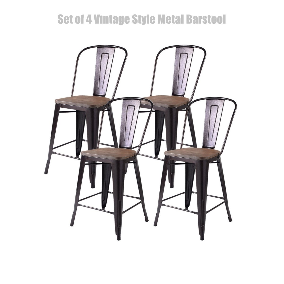 Vintage Style Metal Barstool Solid Steel Construction Comfortable Backrest Scratch Resistant Side Chair Home Office Furniture - Set of 4 Copper 24''H #1434