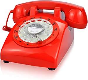 ECVISION 1960's Style Rotary Retro Old Fashioned Dial Home Telephone with Red Color