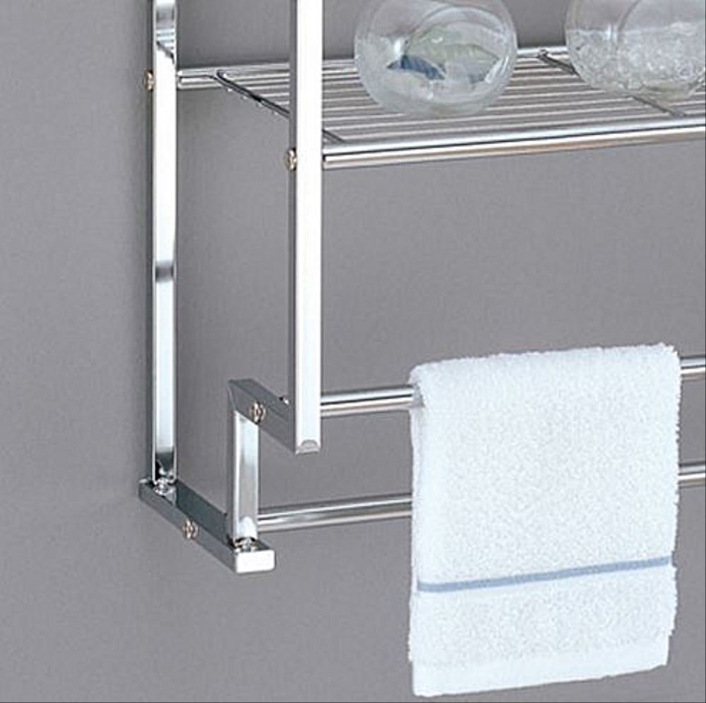 Wall Mounted Bathroom Towel Rack Double Bar Holder Twin Hanging Rods Two Shelves Storage Shelf Bath Hand