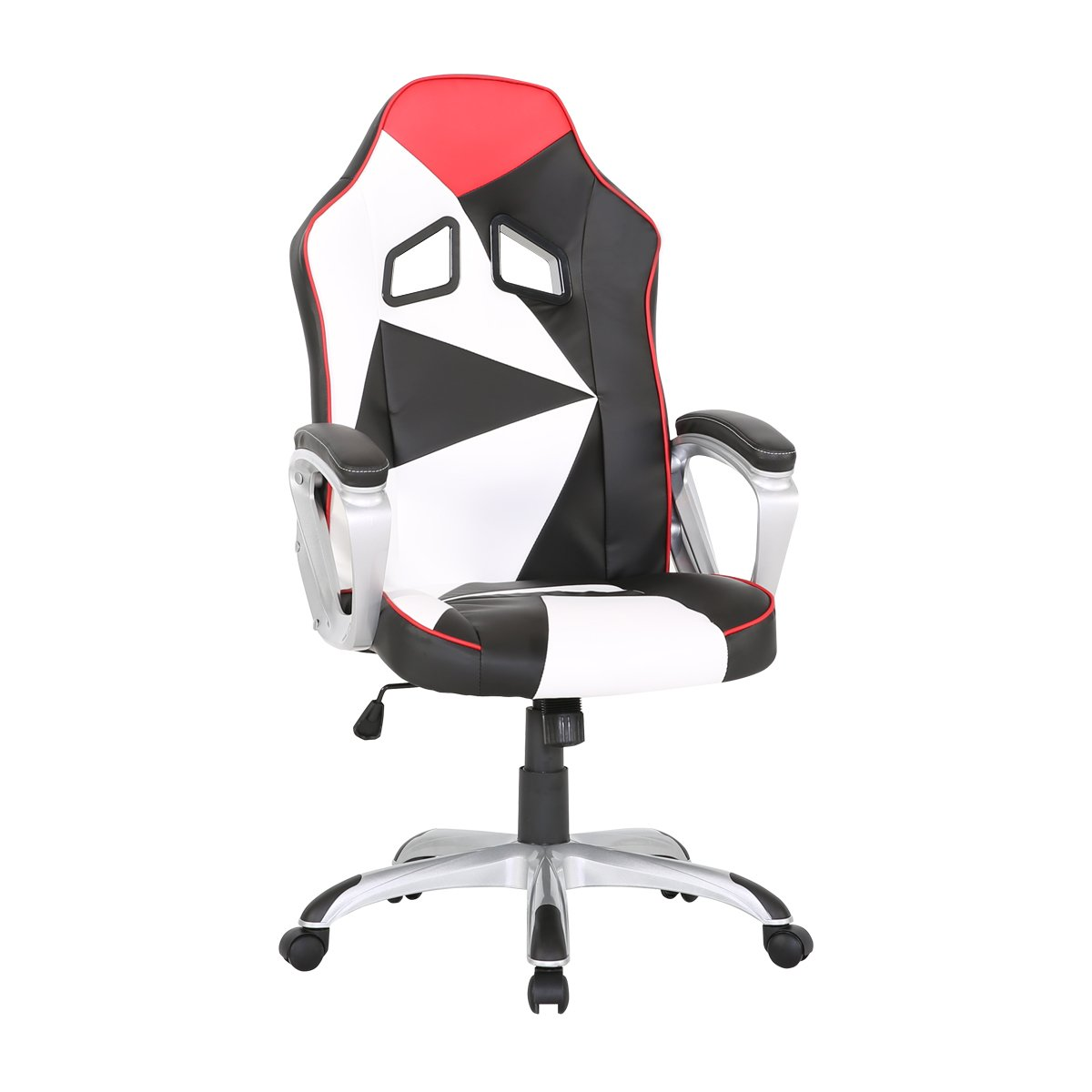 HollyHOME High Back PU Leather Racing Style Office Chair, Black and White