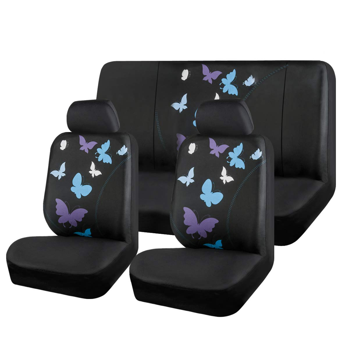 Black and Blue CAR PASS Universal Butterfly Car Seat Covers for Women Girls Car Truck SUV Vans