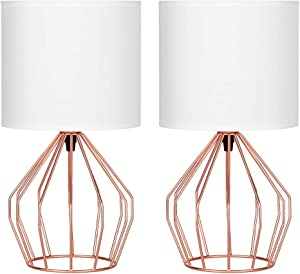HAITRAL Rose Gold Table Lamps Set of 2- Minimalist Bedside Lamp, Modern Basket Cage Style Chrome Metal Base with Linen Fabric Shade Lamps for Bedroom, Girls Room, Gifts - Rose Gold