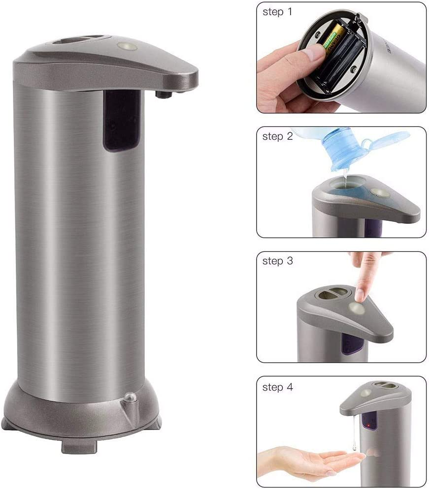 Infrared Motion Sensor Stainless Steel Equipped Soap Dispenser for Bathroom Kitchen Hotel Restaurants RONGROG Automatic Soap Dispenser Silver Touchless Soap Dispenser with Waterproof Base