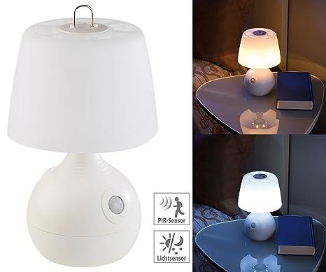 Lunartec Tischlampe Batterie: LED-Tischlampe, PIR- & Licht-Sensor, warmweiß & tageslichtweiß, 30 lm (Tischleuchte mit Bewegun