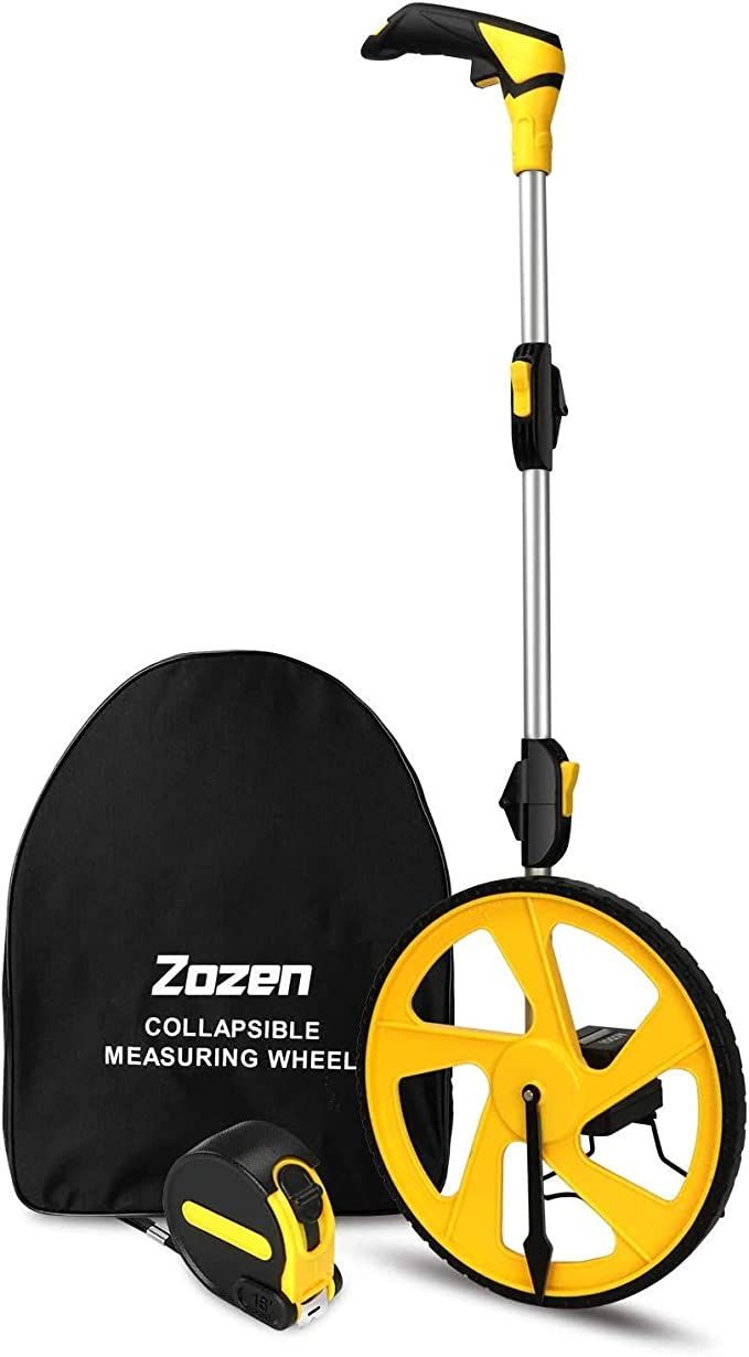 Amazon.com: Measuring Wheel Zozen Collapsible with Kickstand and Cloth Carrying Bag Measurement 0-9,999 Ft: Home Improvement