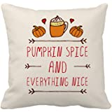 Pumpkin Spice Fall Halloween Home Decor Throw Pillow Cover Cotton Polyester Cusion Case 18 x 18 Inches